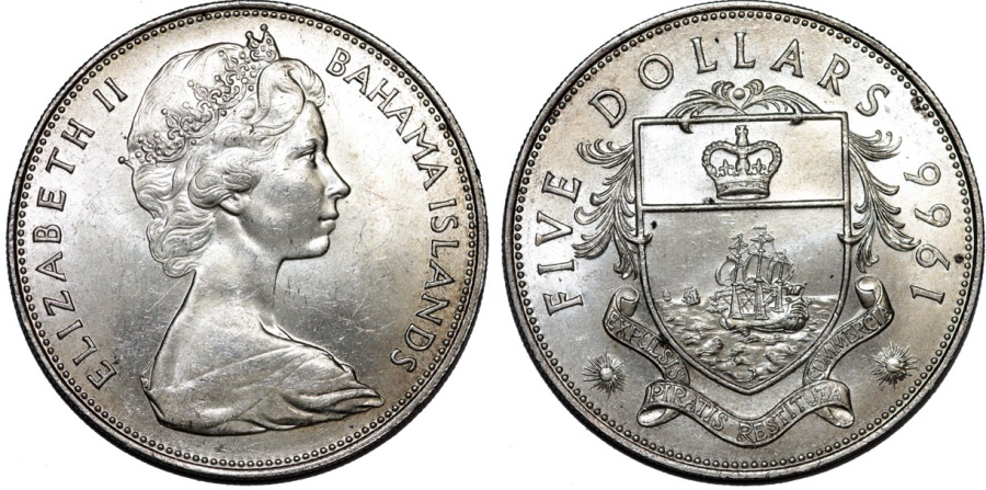 World Coins - Bahamas Islands. Queen Elizabeth II (1952- ). Large Silver 5 Dollars 1966. UNC