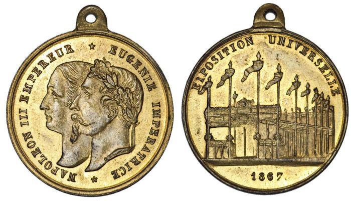 World Coins - France. Napoleon III & Eugenie. Universal Paris Expo 1867. Choice AU Medalette.
