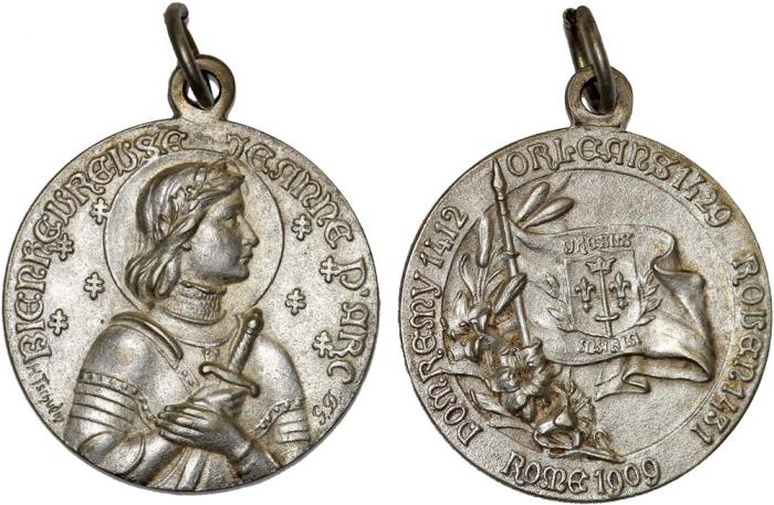 World Coins - Vatican/France. II Republic. Joanne D'arc Silver Medalette by Tschudin. 1909. UNC