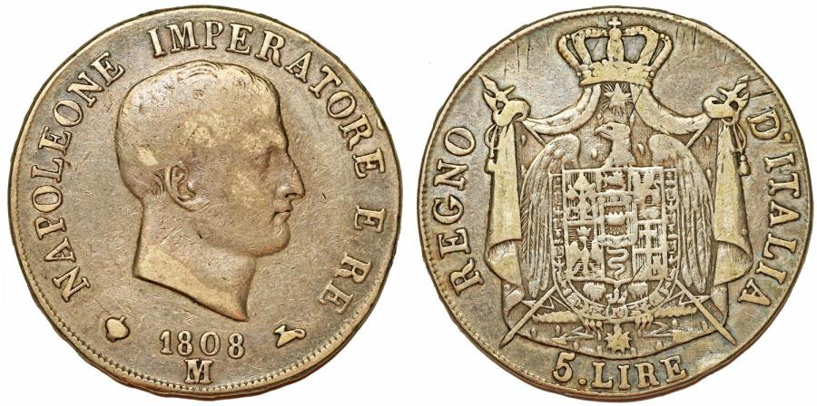 World Coins - Italian Kingdom of Napoleon Bonaparte (1804-1814). AR 5 Lire 1808 M. Toned about VF