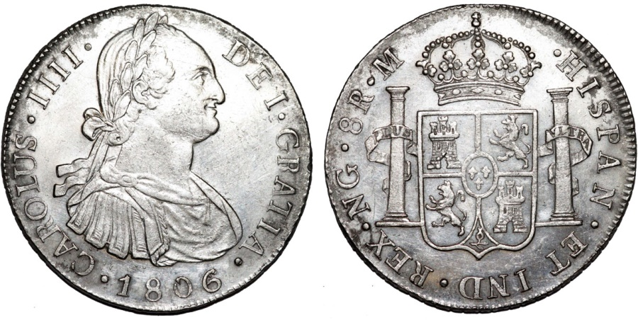 World Coins - Guatemala as Spanish Colony. Charles III. AR 8 Reales 1806/5 NG M. Nice Choice AU