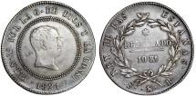 SPAIN, Reino de España. Fernando VII. 1808-1833. Silver 10 Reales 1821, Madrid. Good VF