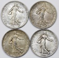 World Coins - France. III Republic. Lot of 4 Silver Coins: 2 Francs 1918-1919. XF/AU