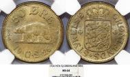 World Coins - Greenland. Scarce in grade 50 Ore 1926 HCN GJ. NGC MS64
