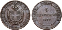 World Coins - Italy. Tuscany. Provisional Government. CU 5 Centesimi 1859. aVF