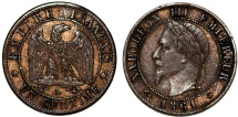 World Coins - France. Napoleon III. AE 1 Centime 1861. Choice VF