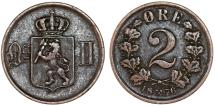 World Coins - Norway. King of Sweden Oscar II. AE 2 Ore 1876. Good VF