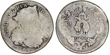 World Coins - Italy. Naples under Spain. Charles II of Spain (1665-1700). Scarce AR 20 Grani 1699. AVF