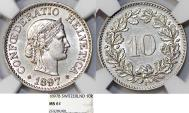 World Coins - Switzerland. Federation issue. CU-NI 10 Rappen 1897-B. NGC MS61, scarce