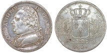 World Coins - France. king Louis XVIII. ( First Gouvernement Royal 1814). Silver 5 Francs 1814 M. Choice VF, RARE