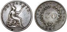 World Coins - Great Britain Administration: Greece. IONIAN ISLANDS Scarce AR 30 Lepta 1852. Choice VF