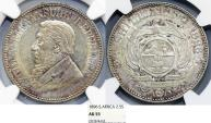 World Coins - Z.A.R. South Africa. Silver 2 1/2 Shillings 1896. NGC AU55, nicely toned