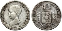 World Coins - Spain. Kingdom. Alfonso III. AR 50 Centimos 1892. Nice XF