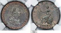 World Coins - Great Britain. George III (1760-1820). AE Farthing 1799. NGC MS63 BN