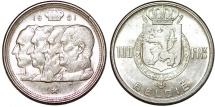 Belgium. AR 100 Francs 1951. Choice AU
