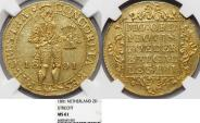 World Coins - Netherlands. Utrecht. Batavian Republic Issue: Gold 2 Ducats 1801 NGC MS61.