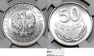 World Coins - Poland. PRL (1945-1989) RARE Aluminium 50 Groszy 1957 MW. NGC MS67!