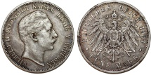 World Coins - Germany Empire. Prussia. Wilhelm II (1888-1918). Silver 5 Mark 1907 A. Toned  XF