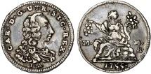 World Coins - Italy. Naples & Sicily. Charles III of Bourbon (1734-1759). AR 5 Grani 1755. Choice XF, toned