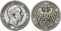 World Coins - Germany Empire. Prussia. Wilhelm II (1888-1918). Silver 5 Mark 1894 A. VF
