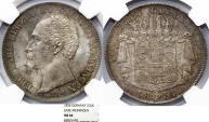 World Coins - Germany- States : Saxe-Meiningen. Bernhard Erich Freund (1821-1866) RARE BEAUTY 2 Gulden 1854. NGC MS66!