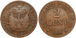 World Coins - Republic of Haiti , SINCE 1863. AE 2 Cent 1886. VF-/VF+