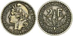 World Coins - French Colony of Cameroon. Aluminium-Bronze 2 Francs 1924 A. Choice VF, RARE!
