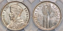 World Coins - Southern Rhodesia as British Colony. King George V. AR 3 Pence 1936. PCGS AU55