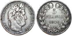 World Coins - France. king Louis Philippe (1830-1848). Silver 5 Francs 1846 A. Choice VF