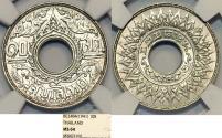 World Coins - Thailand. Rama VIII. Silver 10 Satang 1941. NGC MS64