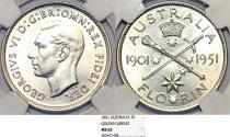 World Coins - British Commonwealth: Australia. Golden Jubilee Florin 1951 S. NGC MS62