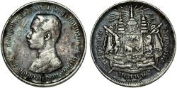 World Coins - Thailand. King Rama V (1868-1910). AR Baht (1876-1900). VF+