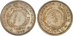 World Coins - Costa Rica. UN Colon 1923, counterstamped 1923 on 50 centimos, 1902 CY. Choice XF, scarce, nice