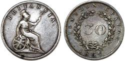 World Coins - Great Britain Administration: Greece. IONIAN ISLANDS Scarce AR 30 Lepta 1852. Choice VF
