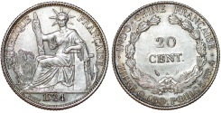 World Coins - French Indo-China. Colonial Issue. Silver 20 Cents 1924 A. AU, Scarce date for issue