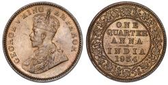 World Coins - British India. George V. AE 1/4 Anna 1934. Choice UNC