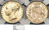 World Coins - Australia. Queen Victoria (1837-1901) Gold Sovereign 1877 S. NGC AU58