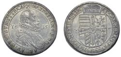 World Coins - H.R.E. Archeduke Maximilian II: Issued as Grand Master of Teutonic Knights. AR Thaler 1615. Toned XF