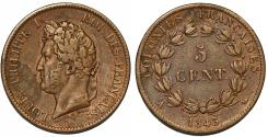 World Coins - France. Colonies of Central America. Louis-Philippe. AE 5 Centimes 1843. Choice VF