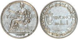 World Coins - Italy. Kingdom Vittorio Emanuelle III. NI 1 Lira 1922 R. About XF