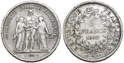 World Coins - France. II Republic. Silver 5 Francs 1848 A. VF