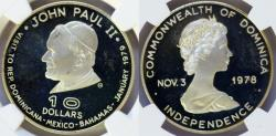World Coins - DOminicana. Silver Commemorative issue 10 Dollars 1978. Visit of Pope John Paul II. NGC PF66UC
