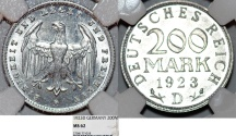 World Coins - Germany, Weimar Republic. Aluminum 200 Mark 1923 D. NGC MS62