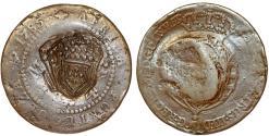 World Coins - ANGOLA as Portuguese Colony. Maria I (the Piteous), with Pedro III. (1777-1786). CU 1/2 Macuta 1785 1/2 Macuta 1837. Fine+