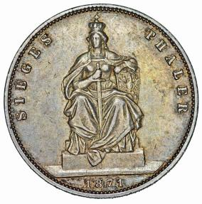 World Coins - Germany. Prussia. Wilhelm I (1861-1888). AR Commemorative Thaler 1871. Great  XF, toned