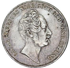World Coins - Sweden. King Oskar I (1844-1859). AR 1 Riksdaler 1846 . Nice XF.