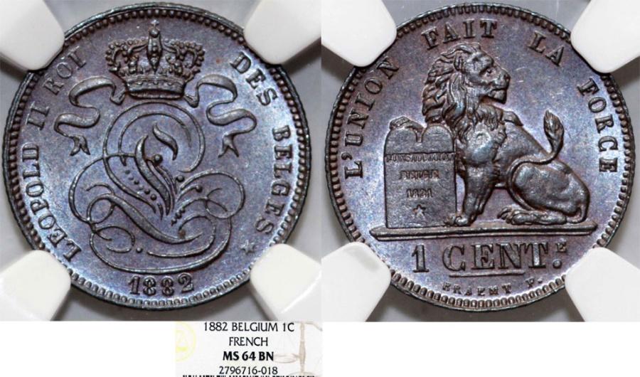 Belgium  Leopold II (1865-1909)  AE 1 Cent 1882  NGC MS64 BN!