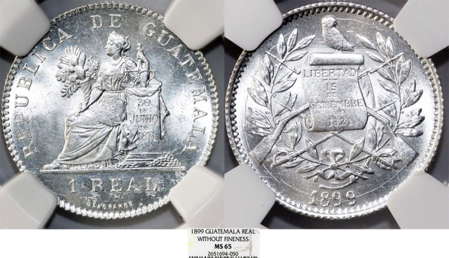 World Coins - Guatemala. Republic. AR 1 Real 1899. NGC MS65, scarce BU.