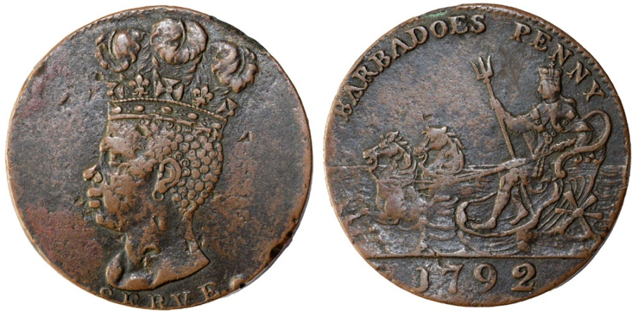 World Coins - BARBADOES, Colonial. George III. CU ORIGINAL RARE Penny – Plantation Token 1792. Good VF