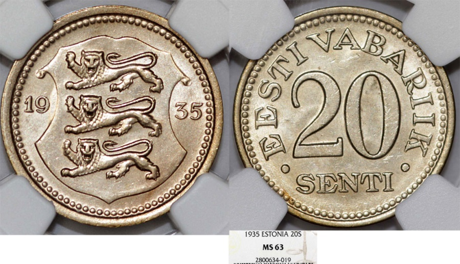 World Coins - Estonia. Republic. 20 Senti 1935. NGC MS63
